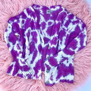 ASOS purple knit tie dye cardigan
